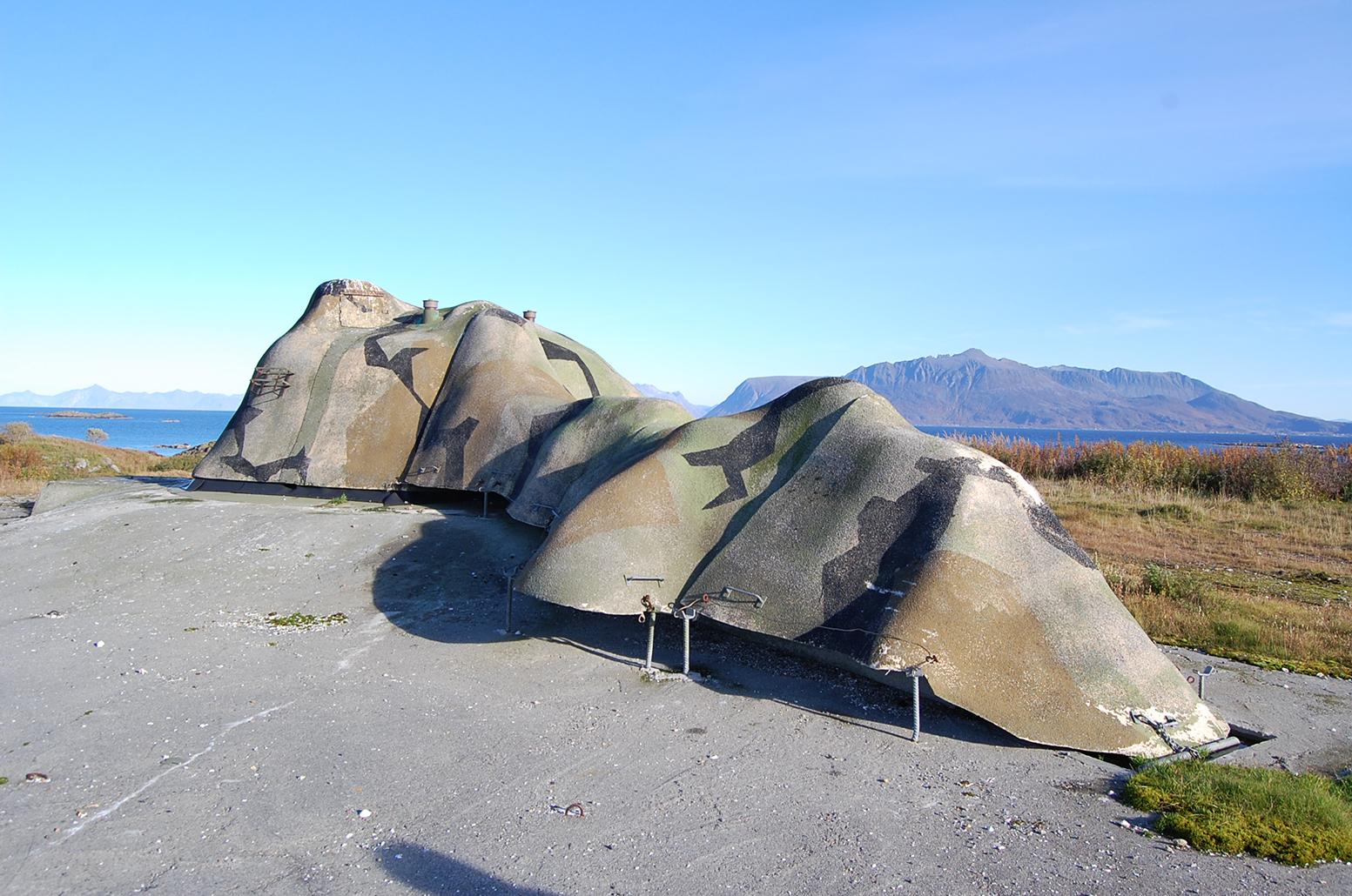 120 mm kanon med paddeskjold Meløyvær fort. Foto: Olav Austlid Troms Fylkeskommune