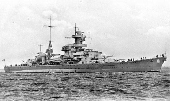 Bilde av Krysseren Blücher til sjøs. Foto: Deutsches Bundesarchiv (CC BY-SA) via Wikimedia Commons