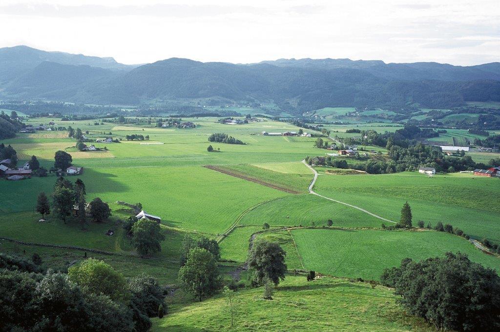 Det skålforma landskapet i Etne er et rikt jordbrukslandskap. Stor konsentrasjon av bergkunst gravminner og bosetningsspor forteller om lang tids bruk. Fotograf: Signe Nygaard Hordaland fylkeskommune.