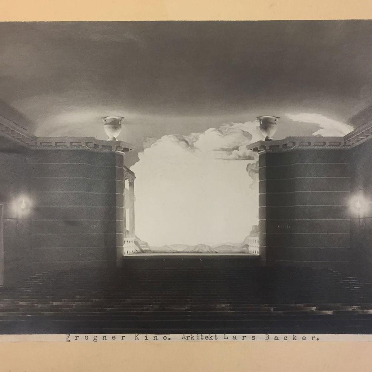 Det ene rommet.Fotografi av salen sett fra bakerste rad i Frogner Kino fra åpningen i 1926. Fotografiet kan være tatt av Anders Beer Wilse / Nasjonalmuséet - Arkitektur