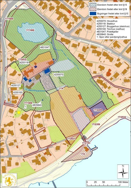 Kart over Hindal gård