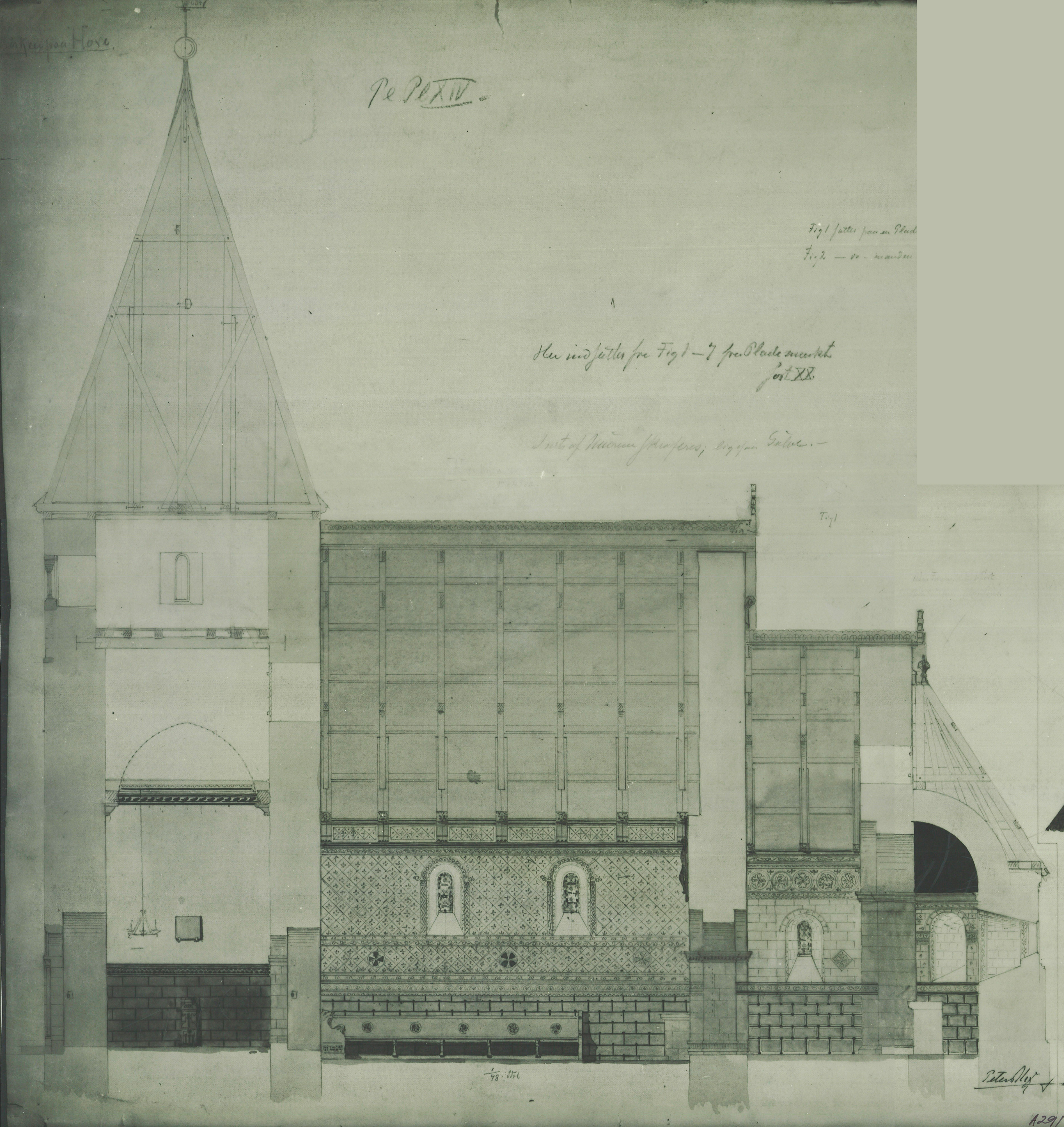 Hove kyrkje. Teikning frå 1870-1890 Peter Andreas Blix.