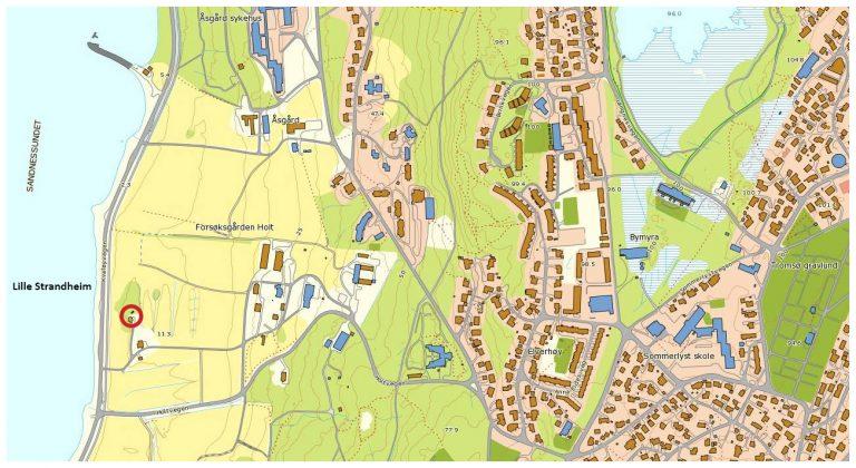 Kart over Lille Strandheim