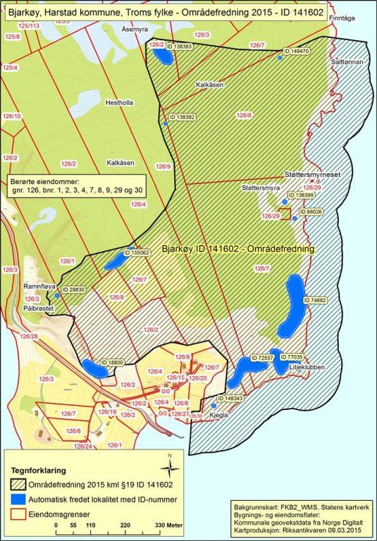 Kart over Bjarkøy