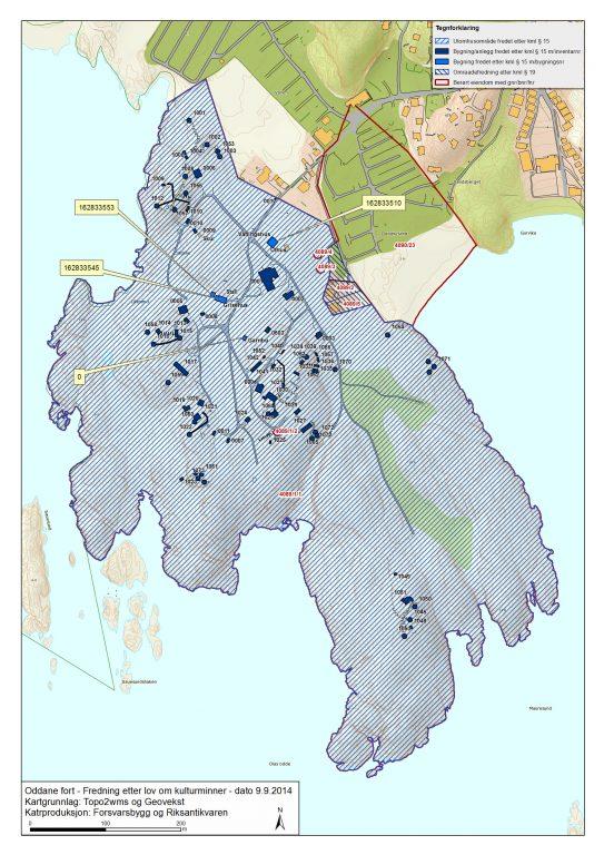 Kart over Oddane fort.