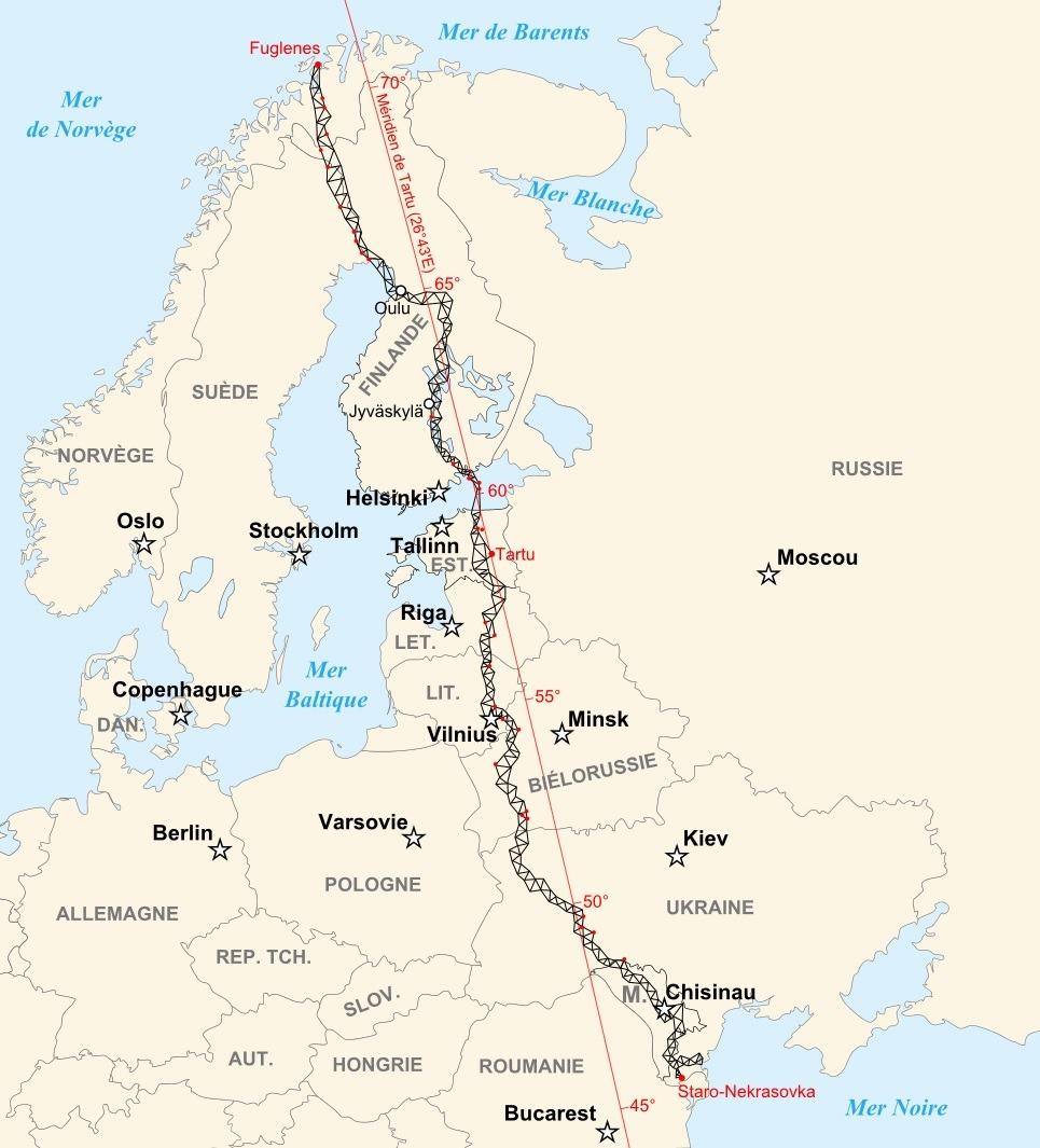 Kartet over Struves meridianbue. De 34 røde prikkene på kartet markerer verdensarvstedene. Illustrasjon: historicair (CC BY-SA) via Wikimedia Commons