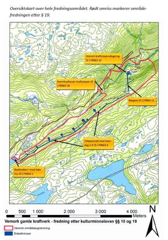 Kart over Vemork Gamle Kraftstasjon