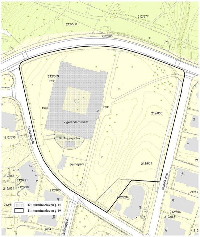 Kart over Vigelandmuseet