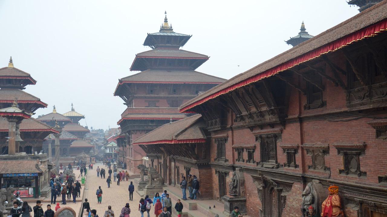 Katmandu Nepalas. Máilmmiárbeguovllus Patan Durbar Square. Katmanduvággi čállojuvvui máilmmiárbelistui 1979:s.