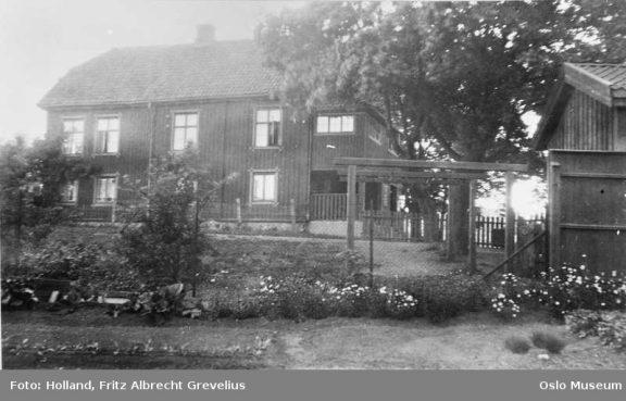 Løkkeberg før bygningen ble flyttet på tomten. Foto: Fritz Albrecht Grevelius Holland Oslo Museum