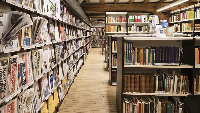 Bilde av bibliotekhyller med bøker