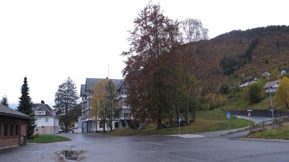 Bildet av Sjøholt hotell sett frå sida med det bakenforliggande bebygde landskapet. Foto: Jorun Elisabet Aresvik Hals Riksantikvaren