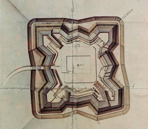 Plantegning av Terningen skanse 1811 - 1814. Foto: Glomdalsmuseet
