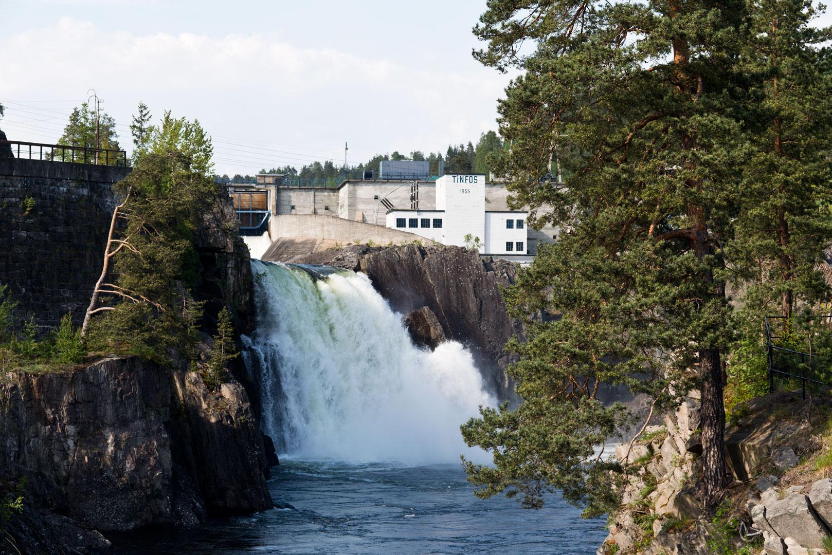 Vannkraft var alfa omega for utbyggelsen av kraftverkene Tinfos 1 på Notodden. Foto: Per Berntsen