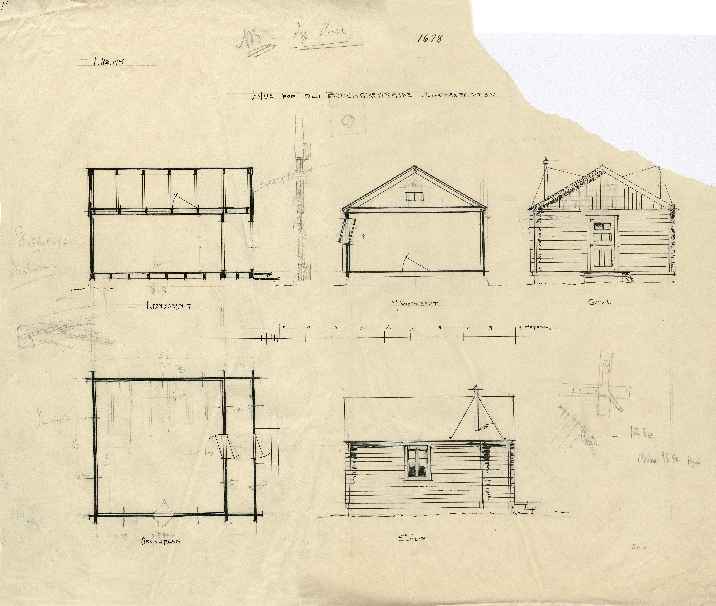 Tegning av Borchgrevinks enkle bolighytte i Antarktis.