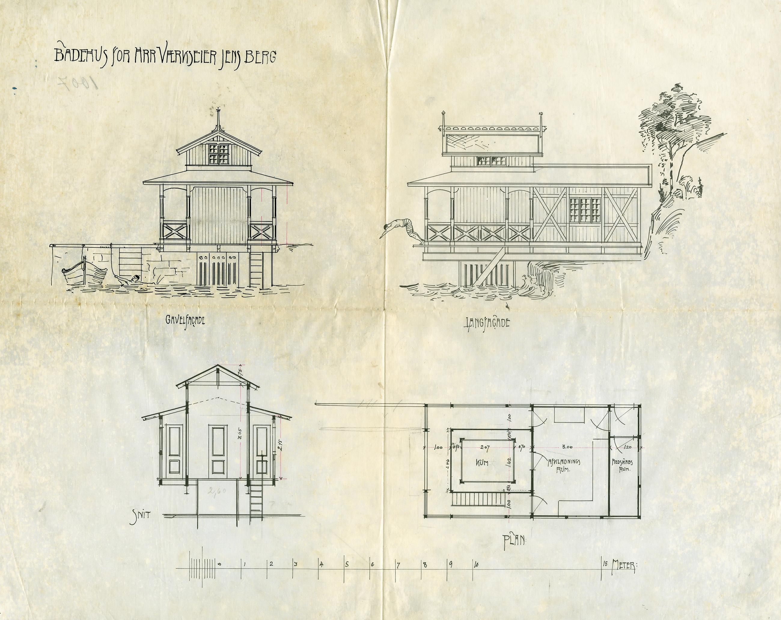 Tegning av badehus med brygge for Værkseier Jens Berg. Arkitekten er ukjent og tegningen er usignert