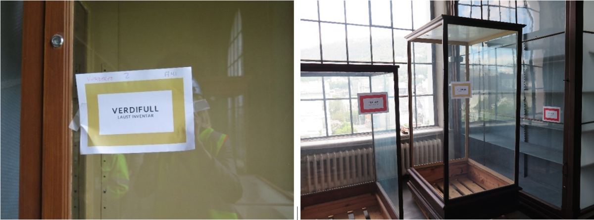 Verdifulle utstillingsmontre på Universitetsmuseet i Bergen er merket som «verdifull» og «fredet».