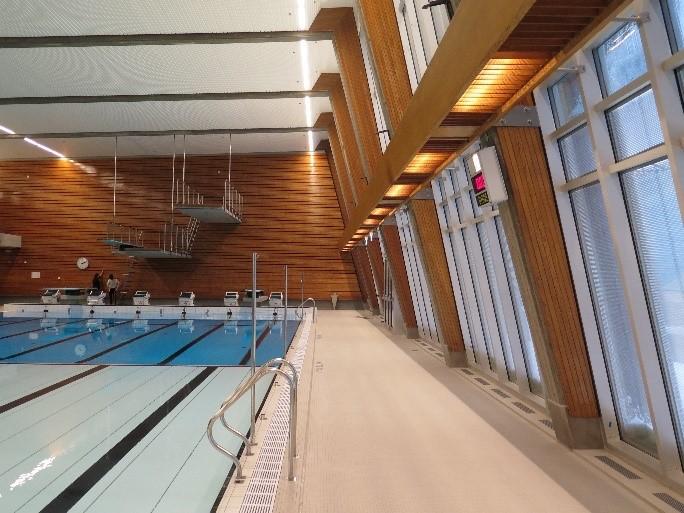 Vinduene i den rehabiliterte svømmehallen på Norges idrettshøgskole