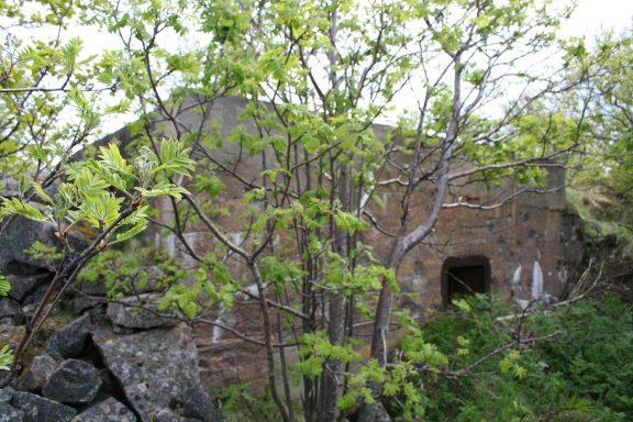 Bilde av en forlatt bygning i naturstein mellom trærne. . Foto er tatt av Geir Olav Gramm, Riksantikvaren