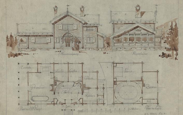 Tegning av fasade og tverrsnitt av Villaen til Herr Kand. real Gunnar Holmsen