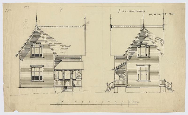 Tegning av Villa ved Holmenkollbanen. Bildet viser Situasjnsplan og tegnet utsnitt. Tegningen er laget av Holger Sindig Larsen