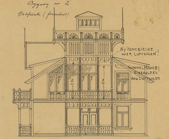 Fasadetegning av Voksenåsen Hospits, tegnet av Halvdan Berle i 1901.