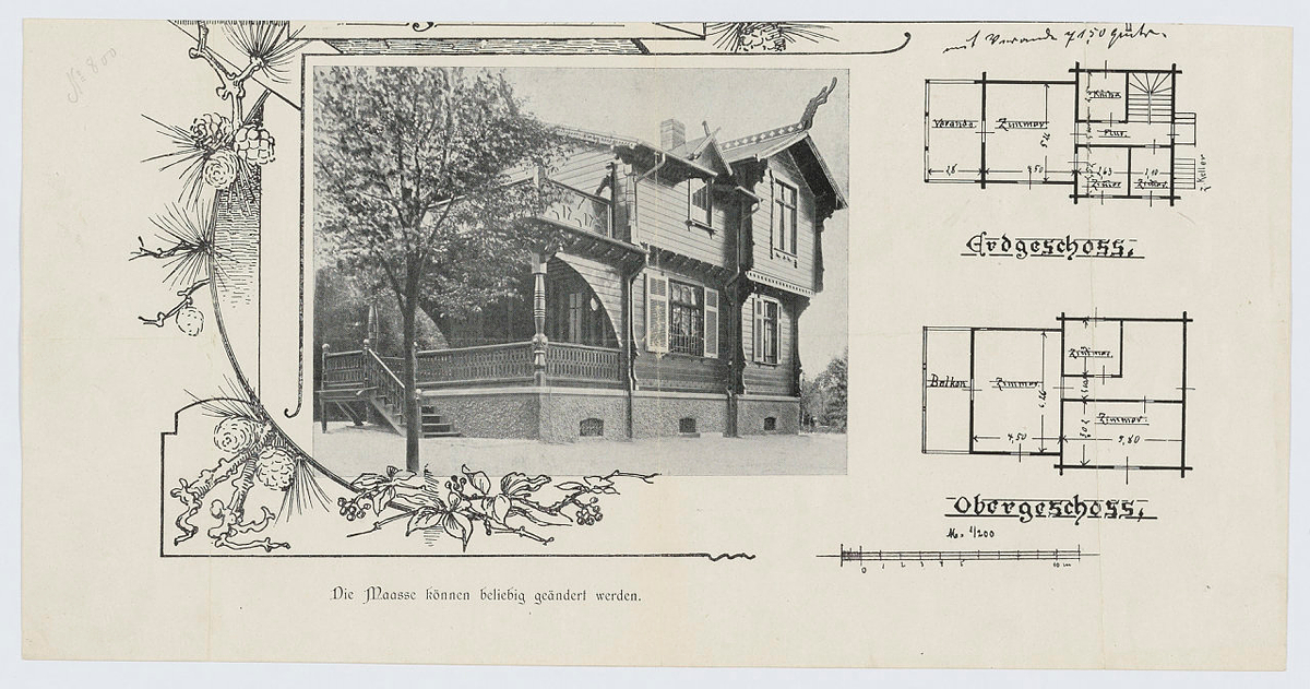 Illustrasjonen viser forside av huskatalog for det tyske markededet, på tysk.