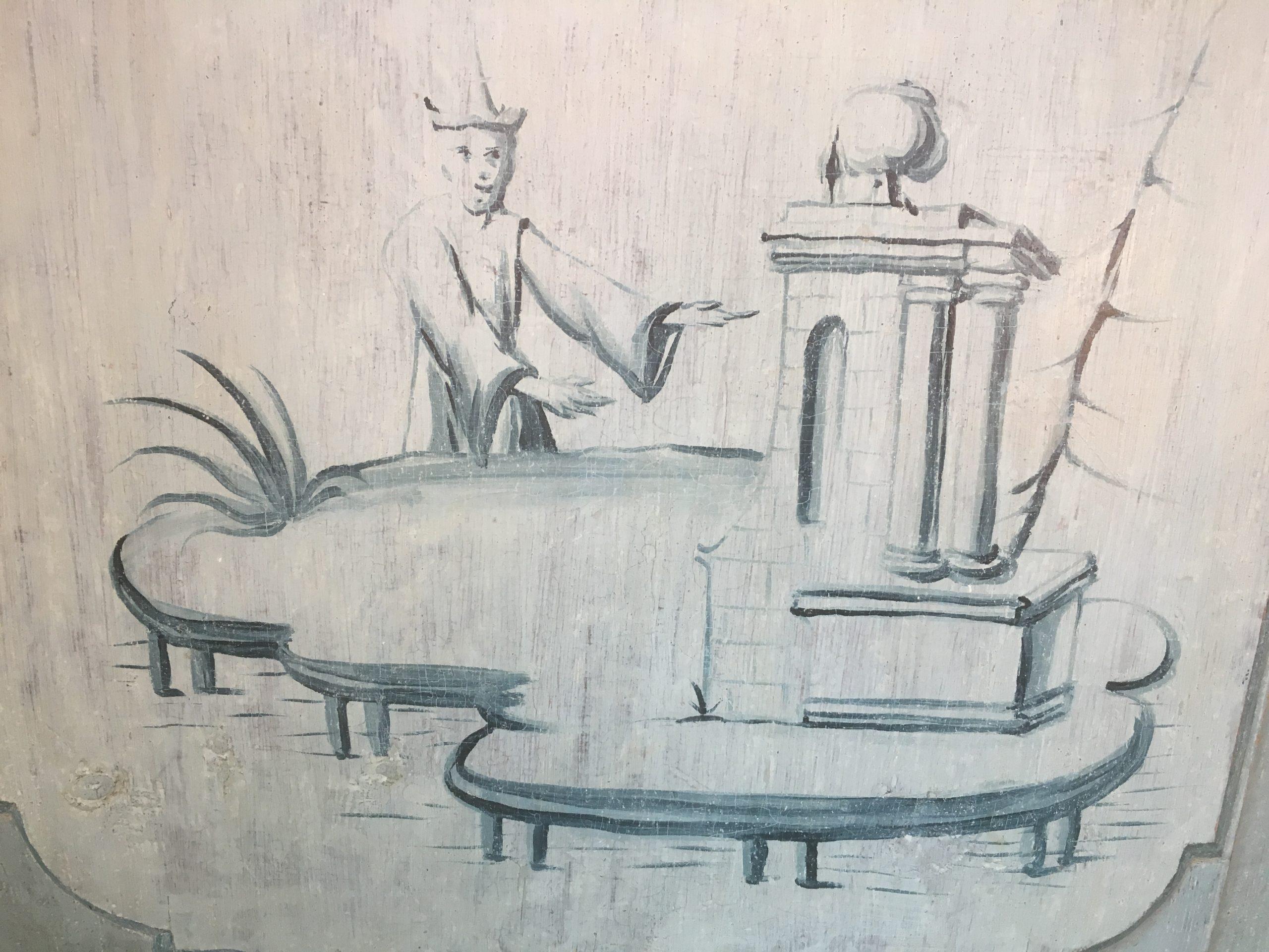 Bilde av en av kineseriene i salen.Kineserier, dekorasjoner med kinesiske motiver, var særlig populære på 1700-tallet. Foto: Turid Årsheim, Riksantikvaren