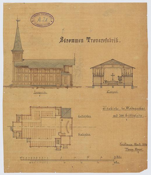 En plantegning av en kirke i Madagaskar. Tegnet av Henrik Thrap-Meyer (1833-1910). Tegningen er datert 1886.