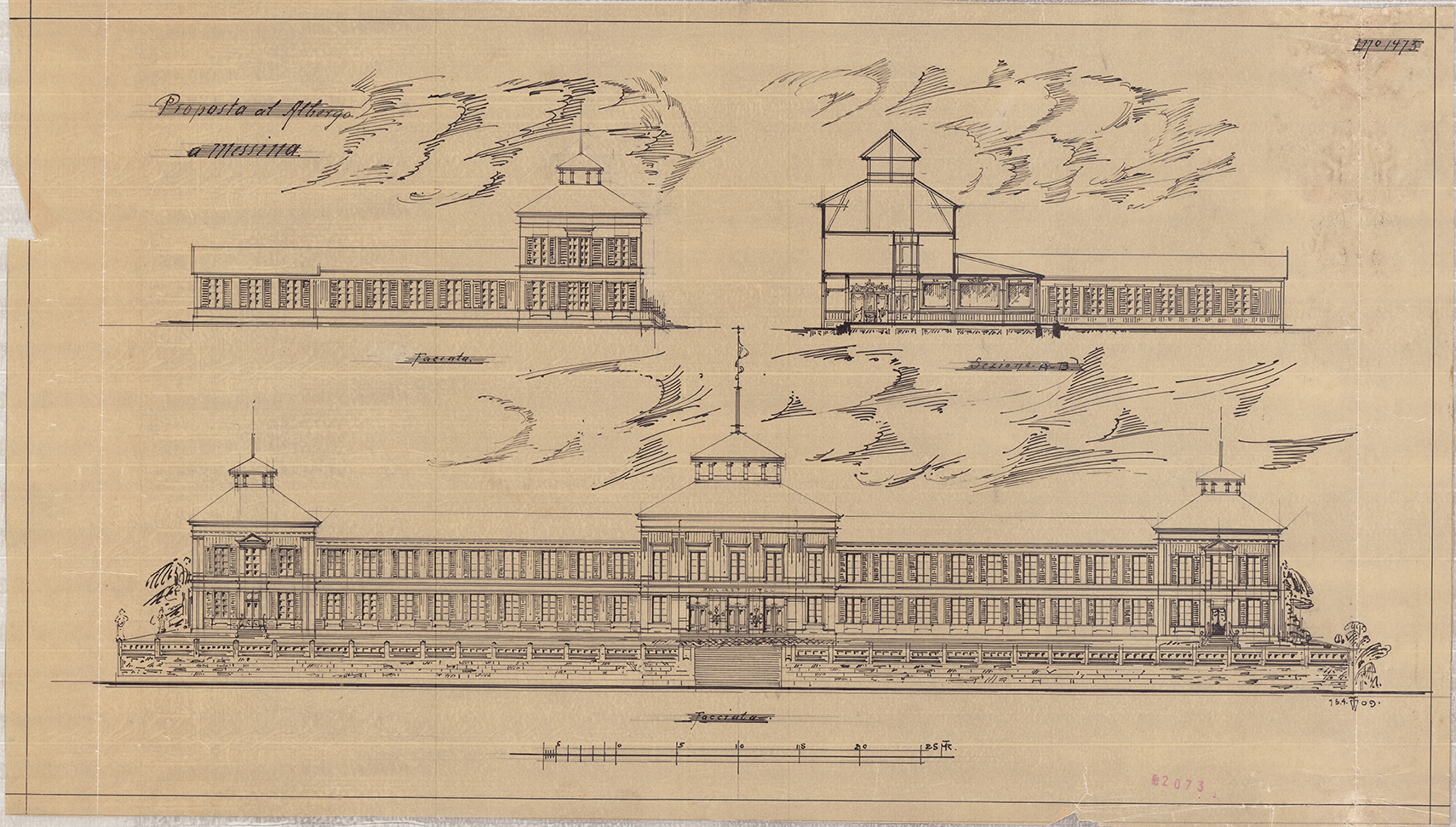 Tegning av et hotell i Messina fra 1909