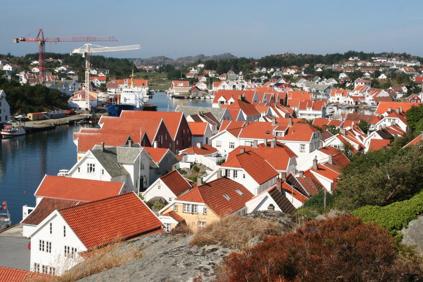 bilde av Skudeneshavn, sett ovenfra. Foto: Karmøy kommune