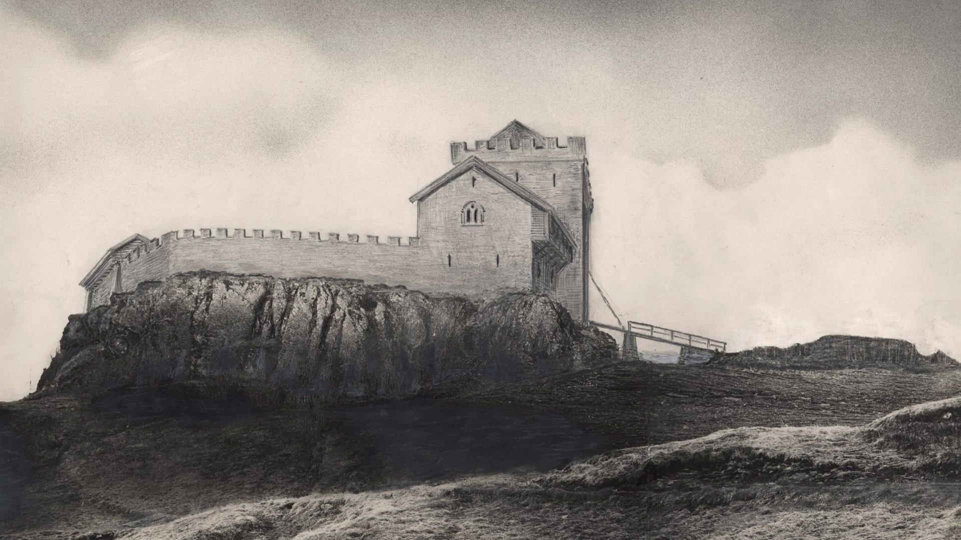 Tegning av en rekonstruksjon av Sverresborg. Tegning: ukjent