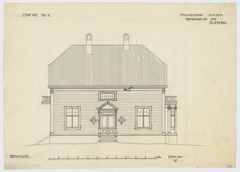Tegning av fasaden til Frøknenes Jensens Villa, tegnet avOlav Olson i 1901.