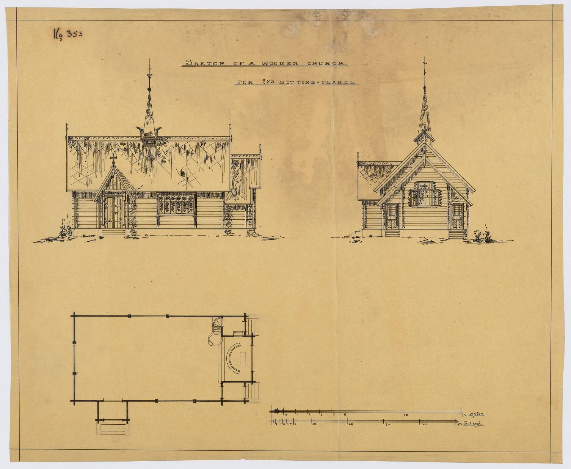 """Tegning av en trekirke i Norht Shields, England. Kirken ble kalt """"Norwegian Sailors Chapel."""""""