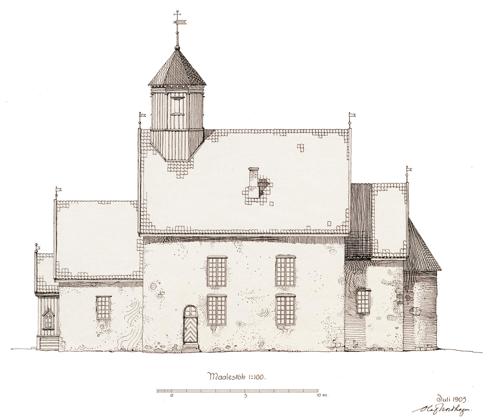 Tegning av Balke kirke