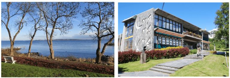 Til venstre: Formålet med fredningen av Edvard Munchs tidligere eiendom og strandlinje i Åsgårdstrand, er å bevare stedet hvor kunstneren fant motiv til noen av sine mest kjente bilder. Til høyre: Utearealet ved Haugesund folkebibliotek er godt tilpasset bygningen i form av blant annet arkitektur, materialer og vegetasjon.