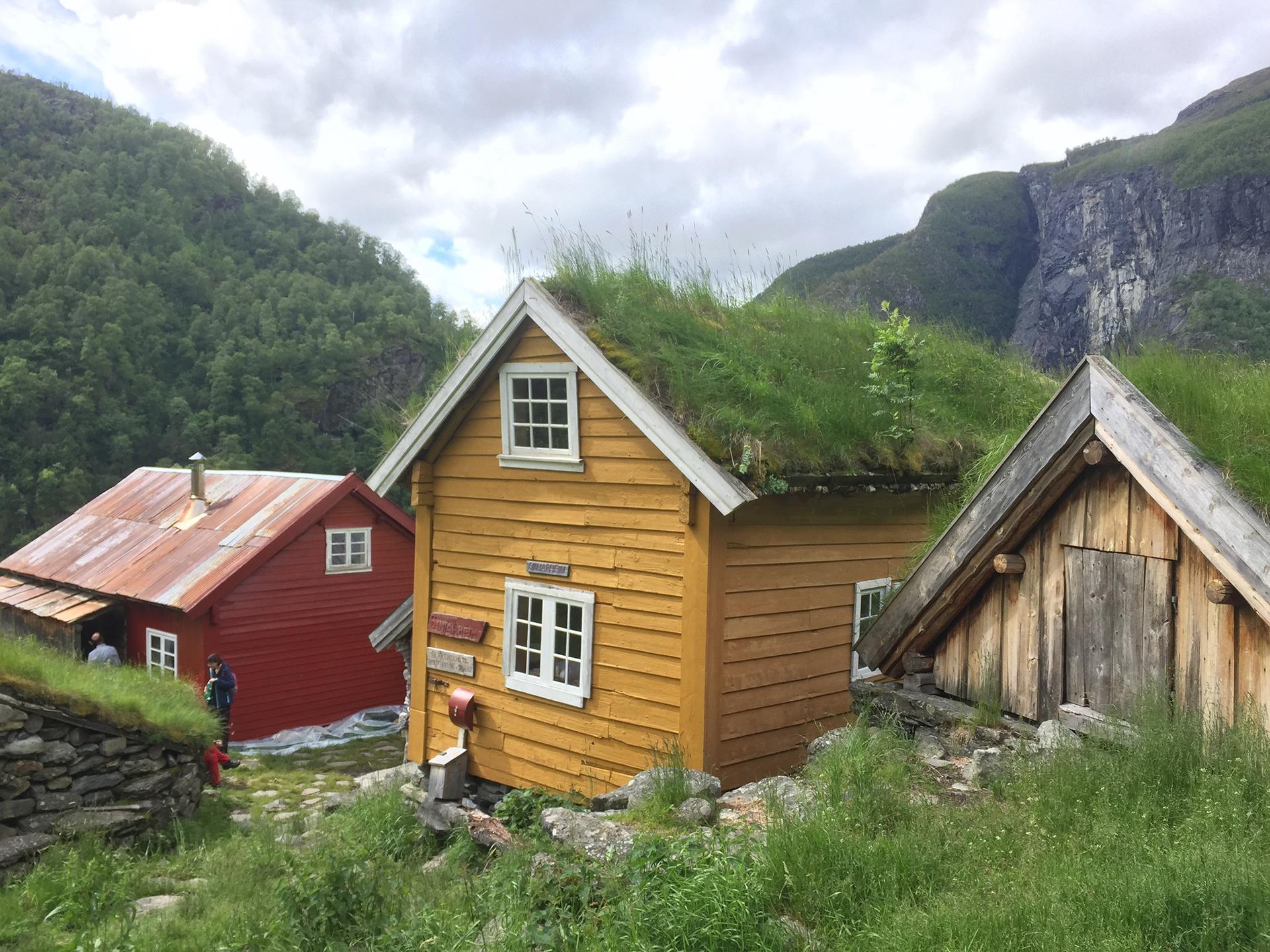 Bilde av fredede bygg i Aurlandsdallen. foto av Kari Merete Horne