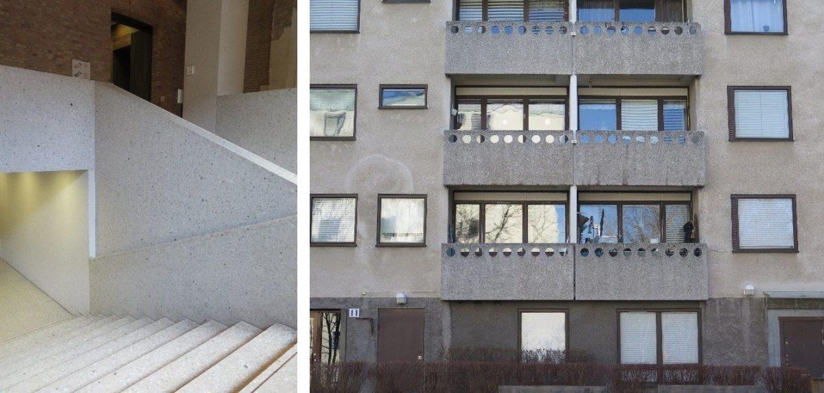 Bildet til venstre: Slipt betong i Neues Museum, Berlin. Bildet til høyre: Karakteristiske balkongfronter i Bredäng utenfor Stockholm.