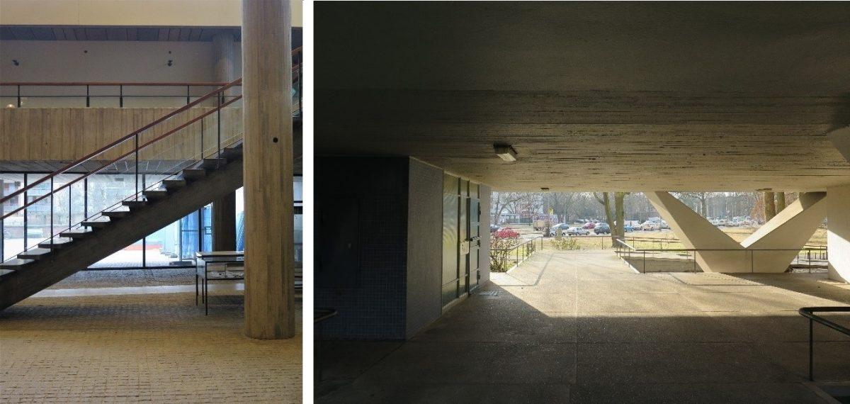 Bildet til venstre: St. Görans Gymnasium i Stockholm. Bildet til høyre: Oscar Niemeyers boligbygg i Hansaviertel, Berlin.