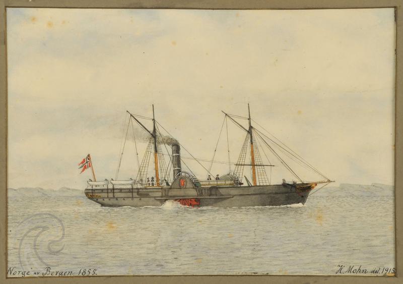 Bilde av skipet D/S Norge, som var et passasjerskip som seilte mellom København og New York, for det meste med emigranter. Akvarell av Henrik Mohn