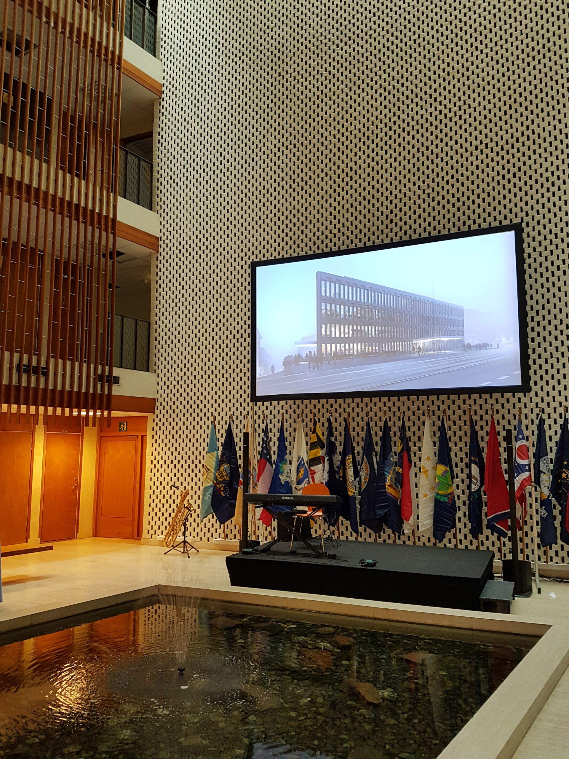 Bilde av Atriet i den amerikanske ambassaden i juni 2018. Foto: Siri Wolland, Riksantikvaren