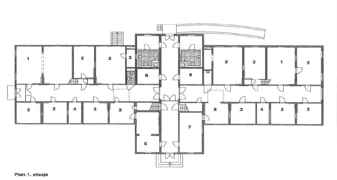 Plantegning av 1. etasje i Tronka