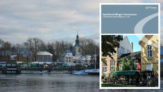 Bilde av Fredrikstad by og forsidebilde av evalueringsrapport. Bakgrunnsfoto: Bjørn-Erik Wøien, Riksantikvaren