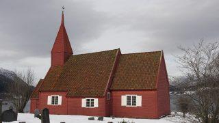 Bildet viser Gimmestad kirke i Gloppen fra 1692. Foto: Iver Schonhowd, Riksantikvaren