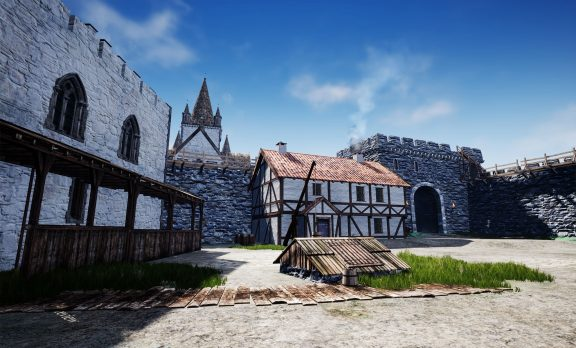 Illustrasjon av innsiden av Bispeborgen. I bakgrunnen ser vi domkirken. Foran den ser vi vestmuren med portalen, som vi ennå kan se sporene av i murverket. Illustrasjon laget av Arkikon.