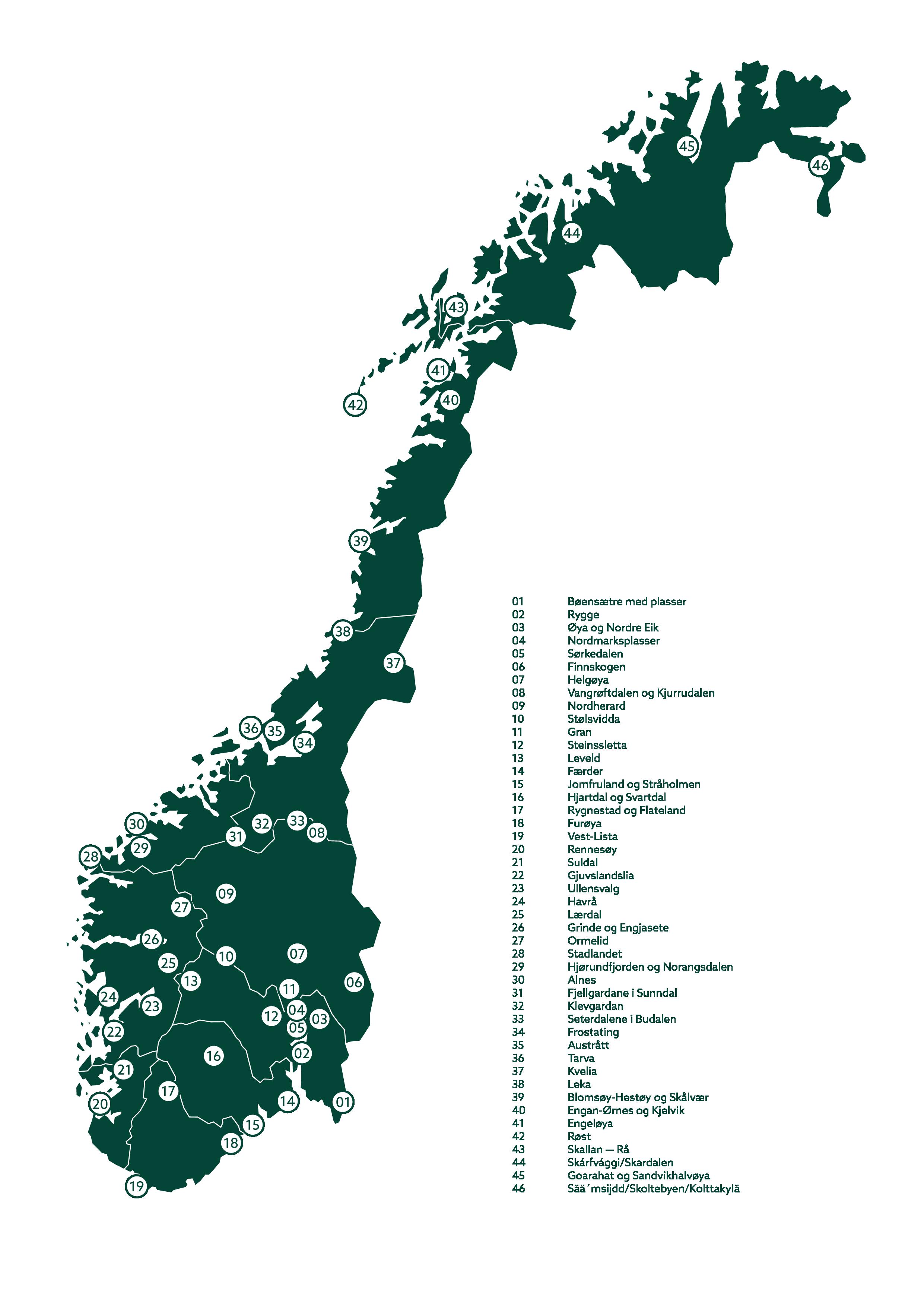 illustrasjonsbilde som viser alle de 45 landsakpene i utvalgte kulturlandskap
