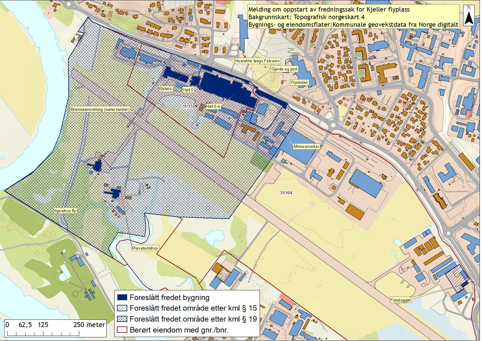 Illustrasjonen viser kart over Kjeller flyplass