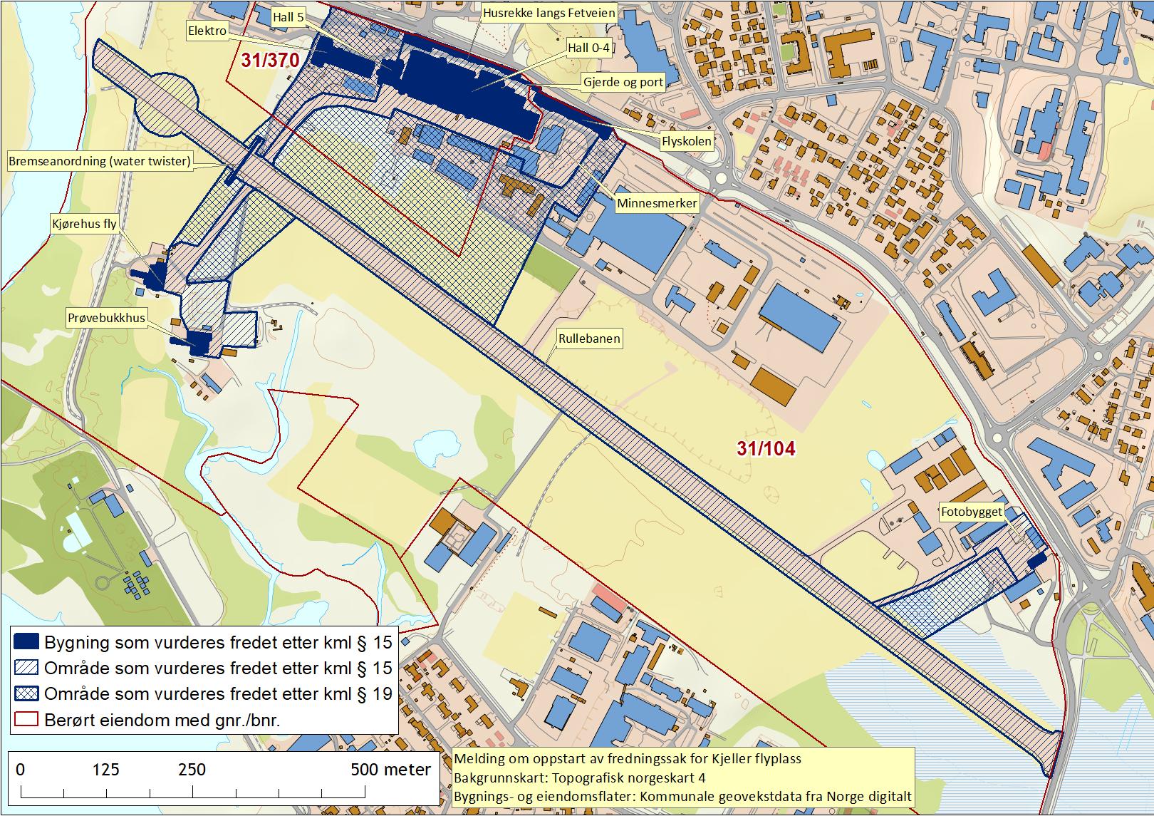 kart over Kjeller flyplass
