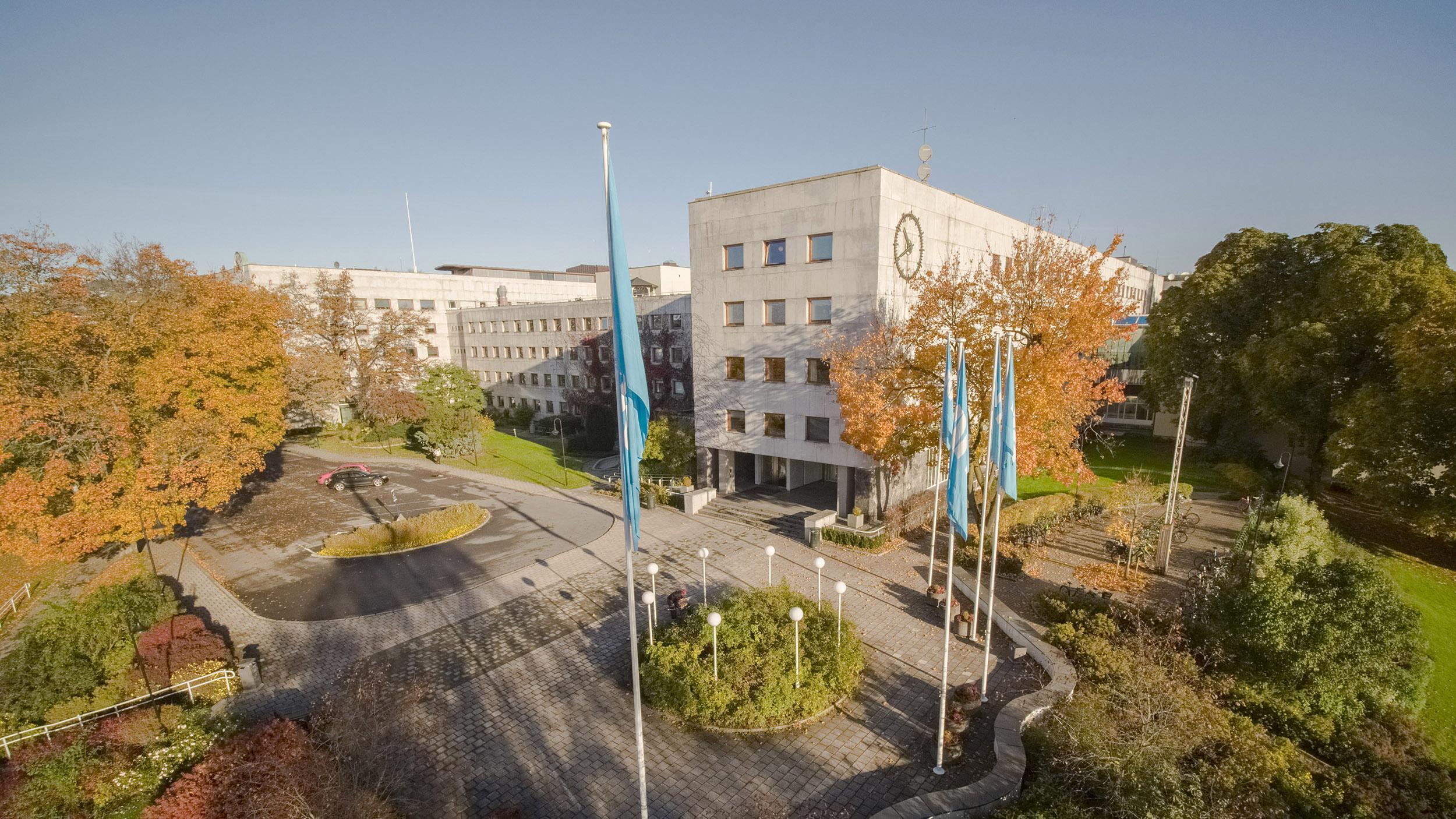 Flyfoto av Kringkastingshuset på Marienlyst. Foto: NRK