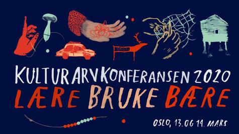 Plakat med lekne illustrasjoner for Kulturarvkonferansen 2020